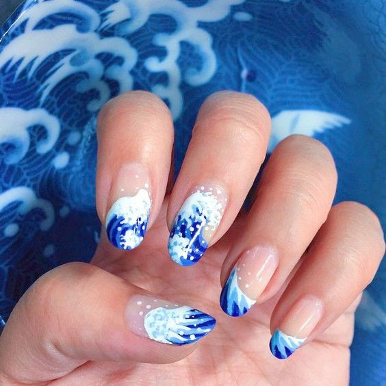 Wave of kanagawa nail art, blue waves, blue nails