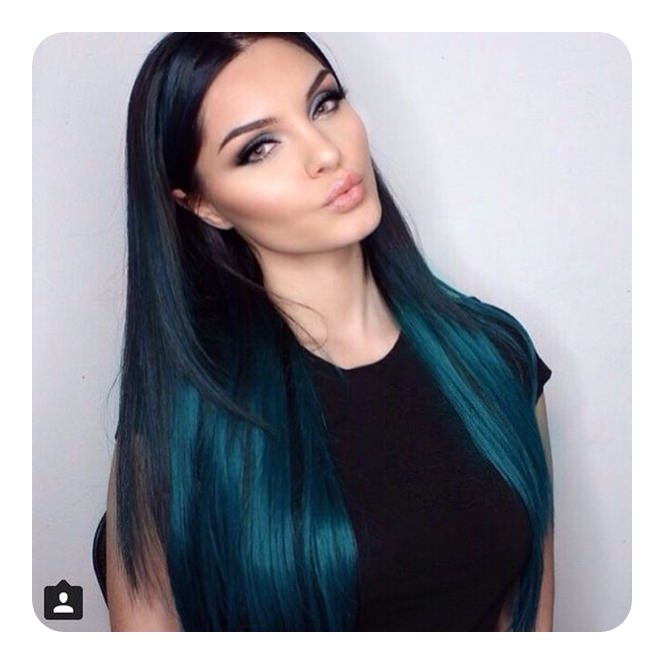 Teal in Black Hairstyle