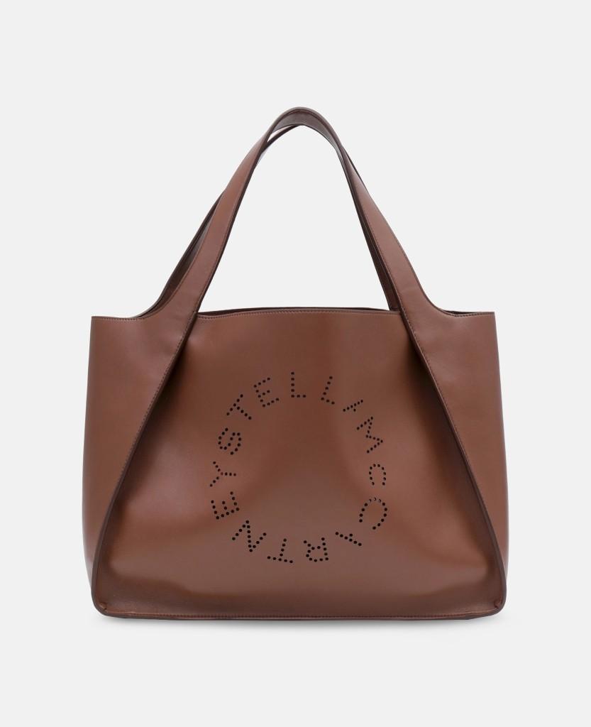 Stella Logo Tote Bag in Cinnamon, Beige and Black