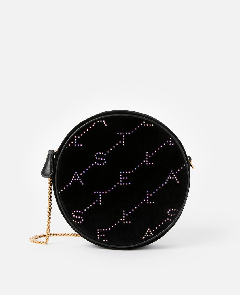 Mini Round Monogram Bag in Black