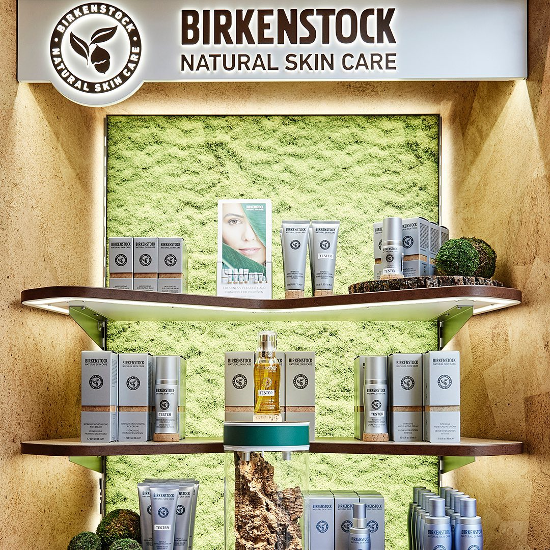Birkenstock's new natural skincare range on display in store