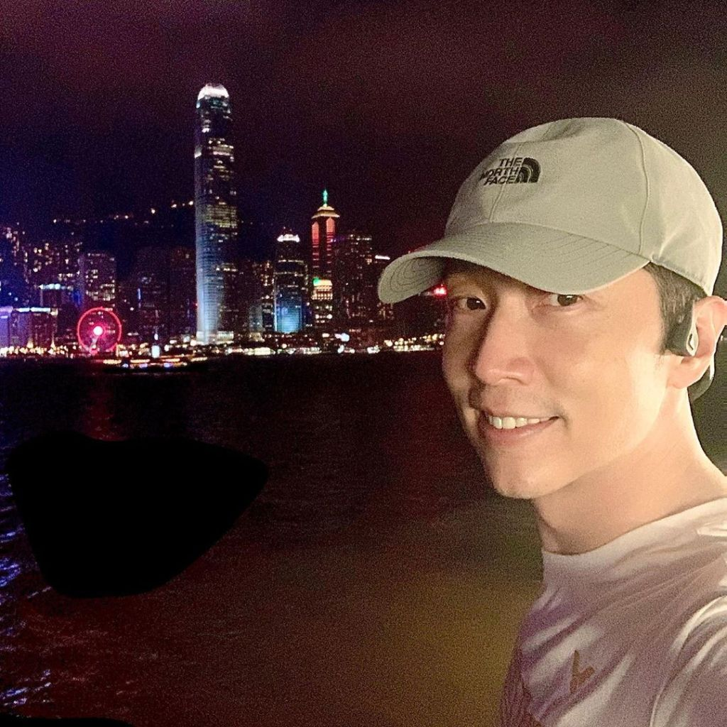 Steven Ma in a selfie he took against the Hong Kong skyline at night. Posted on IG on Oct 9, 2019