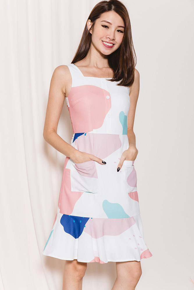 Faire Belle Abstract Slip On Dress