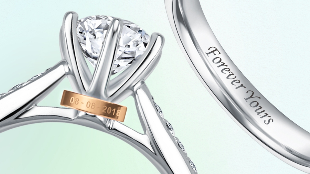 Love & Co.'s engraving on wedding bands and bezel.