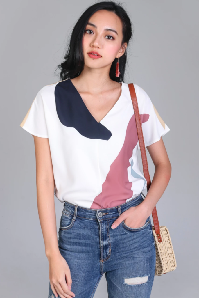 The Velvet Dolls Abstract Geometric Print Sunny Days Tee Top