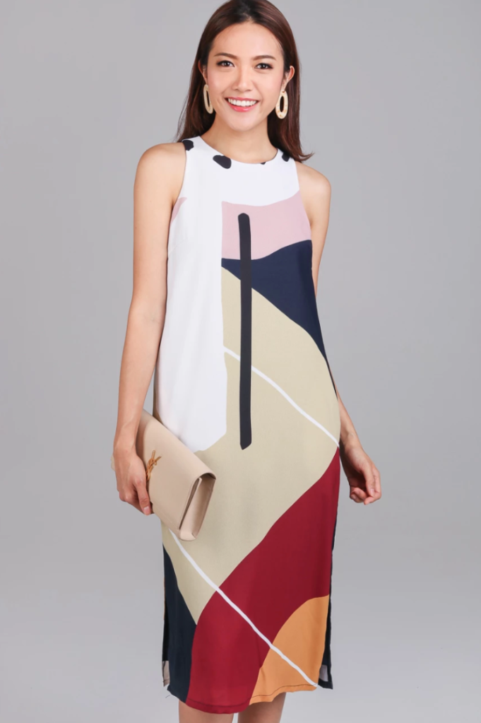 The Velvet Dolls Spectrum Shift Dress with Abstract Geometric Print