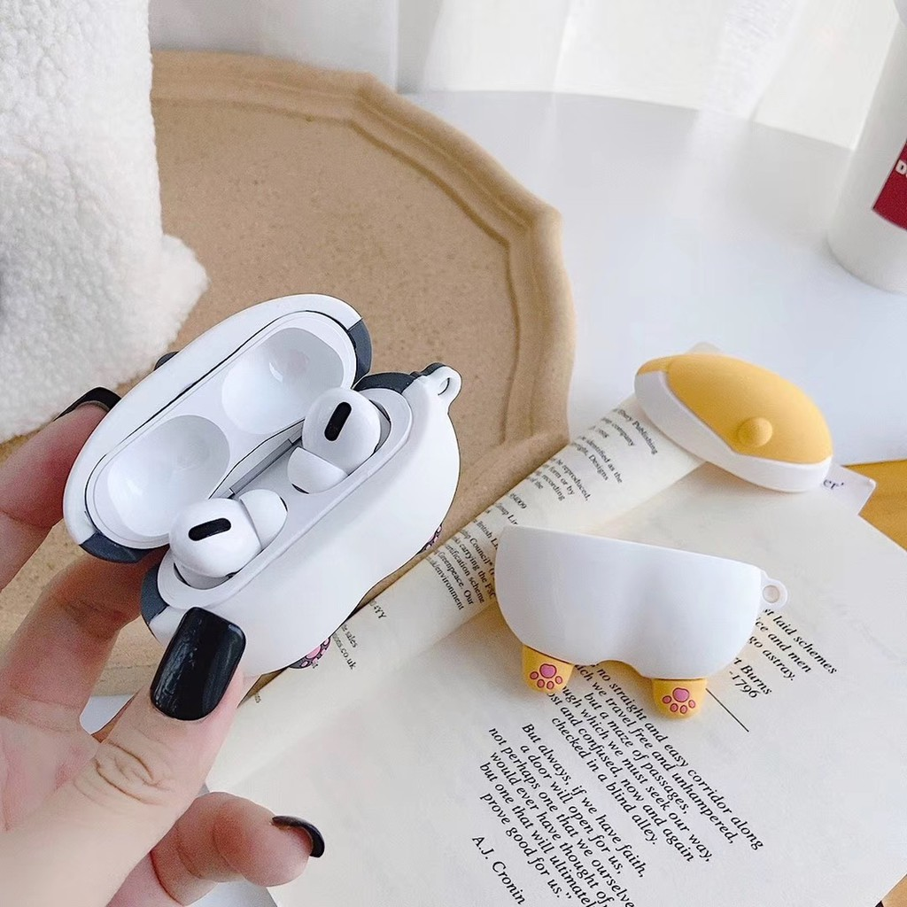 Cute Corgi Butt AirPods Pro case in Yellow and Grey