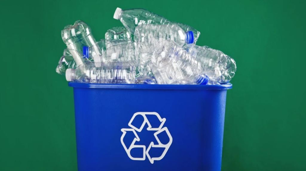 Plastic bottles in a recycling bin