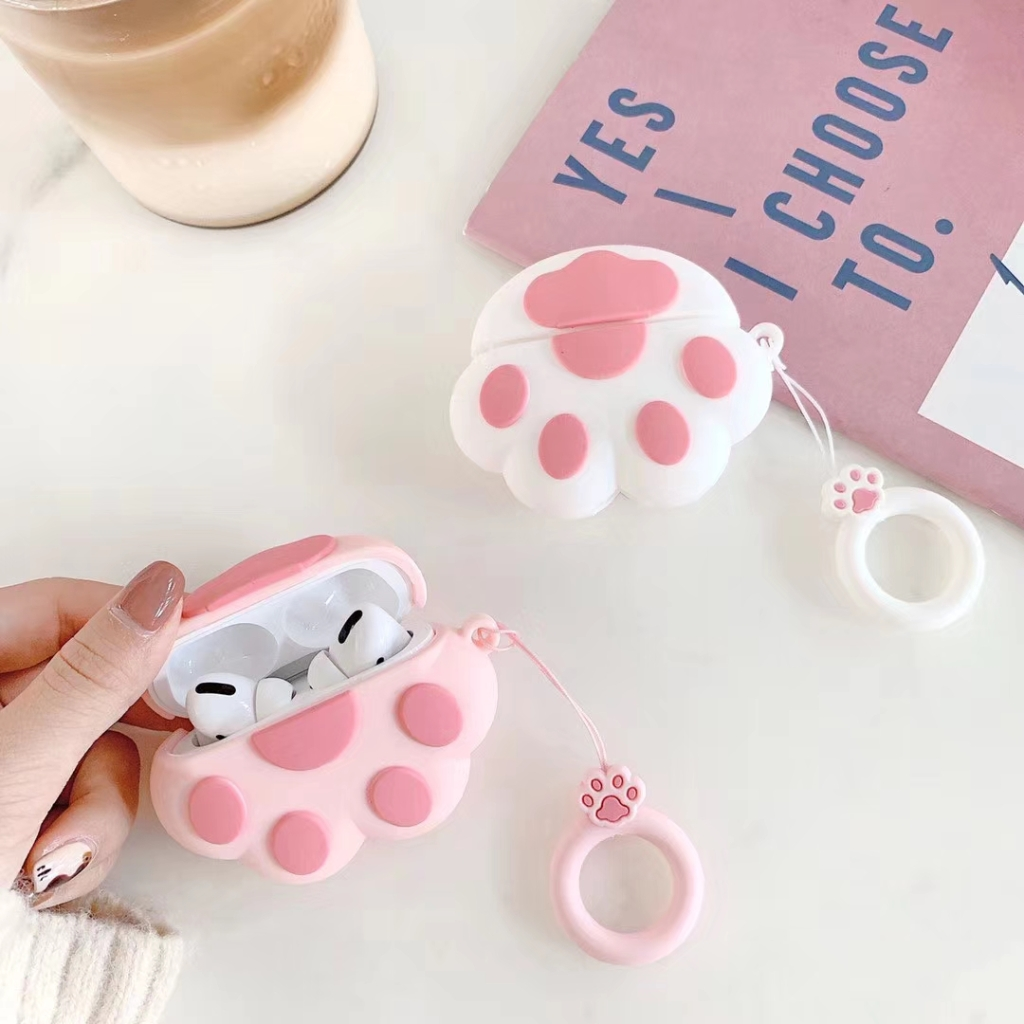 AirPods Pro Case in Cat's Paw design in pink and white
