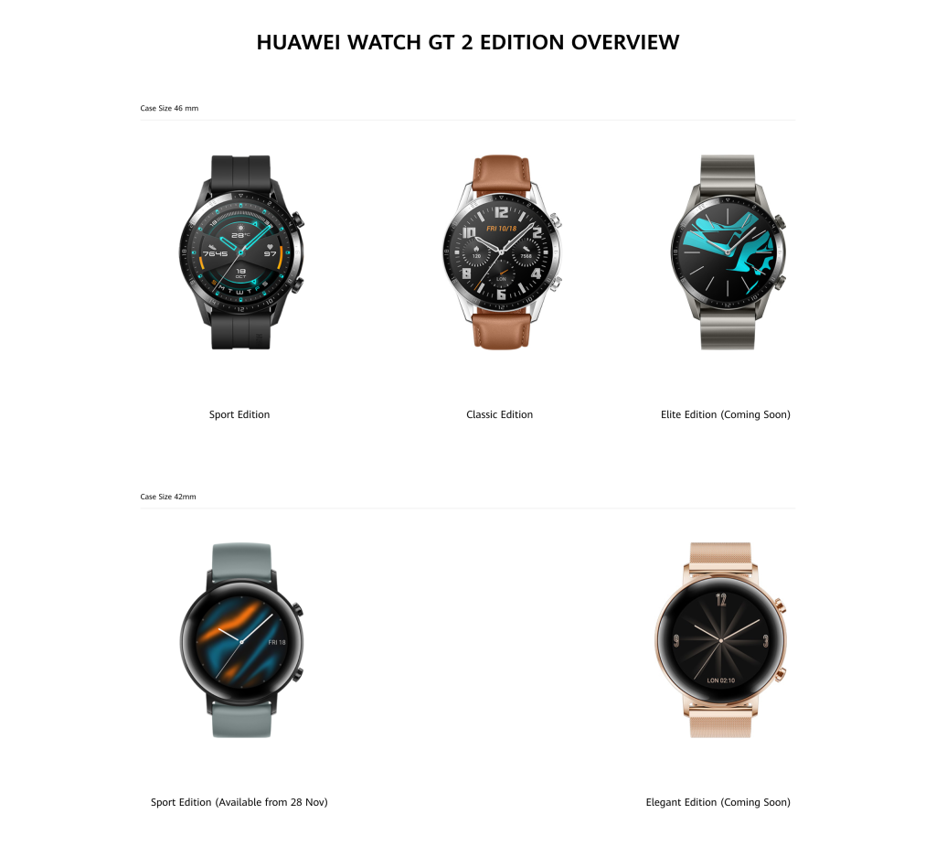 Huawei watch GT 2 Edition in size 46 and 42 in sports, classic, elite and elegant edition