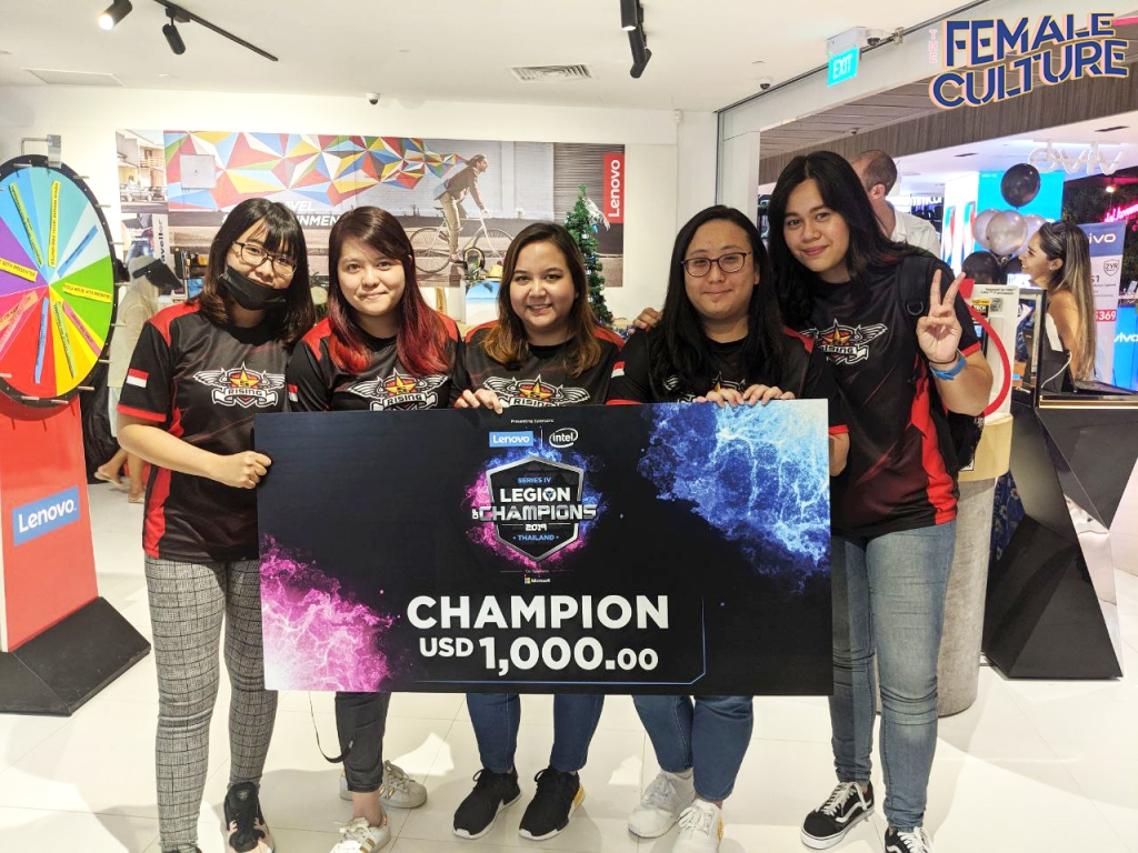 The winning team for Lenovo and Intel's Legion of Valkyries (Singapore category) posing with their cash prize