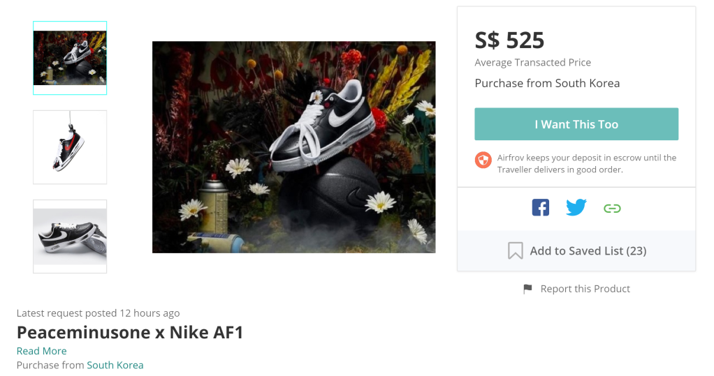 Screen grab from Airfrov on the average transacted price for the limited edition sneaker