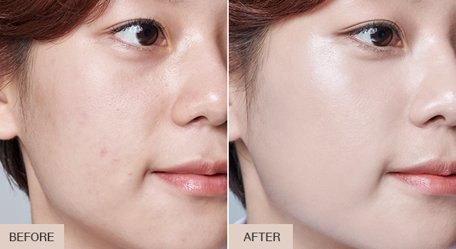 Before and after images of the glowy Neo Cushion by Laneige.